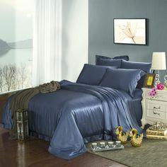 22 Momme Silk Sheets Satin Bedding, Duvet Bedding, Comforter Sets, Silk Sheets, Flat Sheets, Beds Online, Duvet Covers, Comforters, Royal Blue