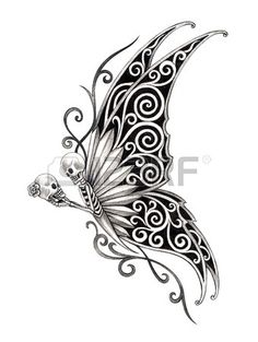 Art skull butterfly tattoo Hand drawing on paper  Stock Photo