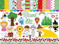 The Wizard of Oz clipart and digital paper pack