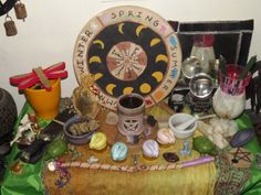 spring altar....I LOVE the homemade wheel of year