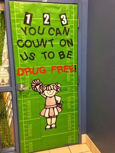 Red Ribbon Week door in a sports themed classroom. You can count on us to be drug free! Sports Theme Classroom, Classroom Door, Classroom Ideas, Drug Free Posters, Drug Free Week, Red Ribbon Week, School Doors, Wimpy, School Projects