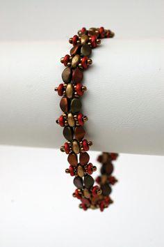 Metallic Beadwork Superduo Bracelet  by craftybeadcollection