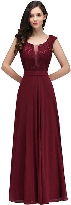 Womens Long Bridesmaid Dresses for Wedding Guest, Burgundy, Size 4 at Amazon Women's Clothing store: