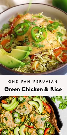 One Pan Peruvian Green Chicken RiceThanks mariakaercher for this post.One pan Peruvian green chicken and rice, or green arroz con pollo, made with an easy, flavorful green sauce and packed with delicious veggies. Top with fresh cilantro, av# beltane Rice Recipes, Healthy Dinner Recipes, Mexican Food Recipes, Chicken Recipes, Clean Dinner Recipes For Two, Healthy Weeknight Dinners, Baby Recipes, Paleo Dinner, Pasta Recipes