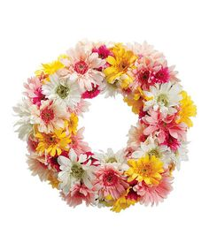 Take a look at this orange yellow gerbera daisy wreath for Allstate floral and craft