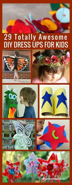 29 Totally Awesome DIY Dress Ups For Kids Encourage imaginative play with these awesome DIY dress-ups for kids. Includes some tips for making dress up play easy and fun! Dress Up Outfits, Diy Dress, Dress Sewing, Kids Dress Up Costumes, Dress Ideas, Costume Ideas, Party Dress, Cool Diy, Sewing For Kids