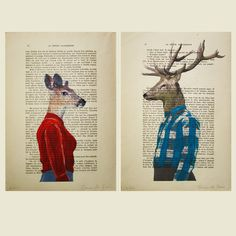 2 ORIGINAL ARTWORKS Mr & Mrs Deer posing  Mixed by Cocodeparis, $20.00