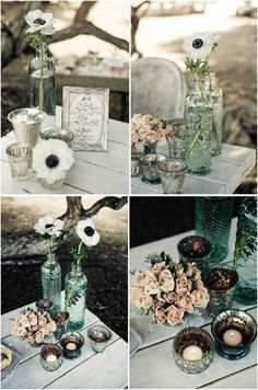 flowers in bottles and mercury glass, a neat mix of containers