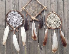 Amor de plumas madera vid guirnalda tapetito por FoundandFeathers