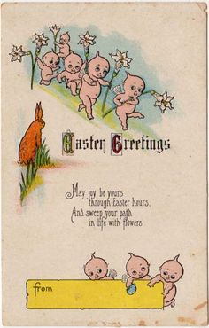 Easter Postcard Kewpies with Flowers Easter Art, Easter Bunny, German Toys, Bisque Doll, Vintage Easter, Comic Character, Vintage Cards, Happy Easter, Joy