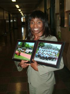 Cassandra Harrington proudly display pictures of one of her schools, Community School 53 where 30 students went to Washington DC, June 6-9, 2012. Sponsored by Community School 53 Alumni Investors and the Community