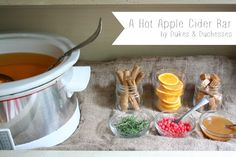 Move over sangria bars it& time for hot apple cider bars! Easy Cocktails, Cocktail Recipes, Dinner Recipes, Apple Cider Bar, Move Over, Sangria Bar, Hot Chocolate Bars, Fall Drinks, Fall Recipes