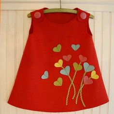 Heartfelt Valentine's Day Jumper Tutorial and Giveaway - Kindermode 2020 Little Girl Dresses, Little Girls, Girls Dresses, Sewing For Kids, Baby Sewing, Fashion Kids, Toddler Dress, Baby Dress, Baby Outfits
