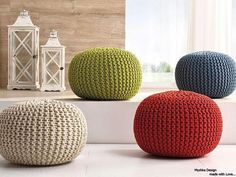 Cozy Knitted Pouf! Fine addition and decoration of your interior! Soft, convenient, bright! He will become irreplaceable for you and your children! It is made of Fabric Yarn. Filler: Polystyrene Balls. I can send you a ready knitted Pouf, also I can send a knitted pouf without