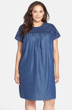 Lucky Brand Embroidered Chambray Shift Dress (Plus Size) available at #Nordstrom