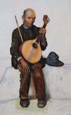 CEGO (pormenor) - Jaime Martins Barata (1899-1970). Aguarela sobre papel.
