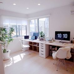 modern home office with ikea desk, two person desk in neutral home office decor, modern home office design