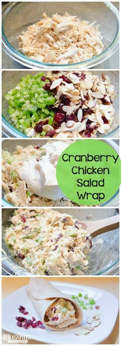 Cranberry Chicken Salad Wrap- but gonna trade the mayo for Greek yogurt!!. Use gluten free Mission tortilla