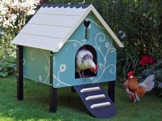 make chicken coops love how its painted like a bird house all colorful