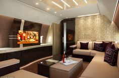 Private jet designers say there are no limits to what they can provide for customers, from reduced noise to chandeliers, aquariums and the ability to serve up a gourmet meal in the galley.