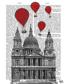 Hot Air Balloons over St Pauls Cathedral in London. This is a print of an original illustration by FabFunky.