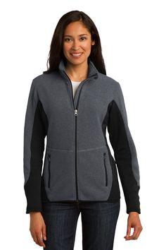 Port Authority Ladies R-Tek Pro Fleece Full-Zip Jacket. L227 Charcoal Heather/ Black