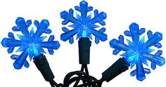Set of 50 Blue LED Snowflake Christmas Lights - Green Wire by Vickerman. $17.99. Set of 50 Snowflake Christmas LightsItem #X6G5012 Features:Color: white bulbs with blue snowflake light covers / green wire Number of bulbs on string: 50 Bulb size: micro riceSpacing between bulbs: 6 inches Lighted length: 23.6 feet Total length: 24.9 feet 12 inch lead cord4 inch tail cordAdditional product features:These lights are made to commercial specifications LED lights use 90% less en...