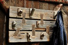 Wooden Wall Hanger Wooden Handmade Vintage by SlawekTreasures