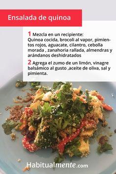 La quinoa es un cereal con muchas propiedades nutricionales. Esta ensalada rápida te va a encantar. Cilantro, Beef, Ideas, Food, Gastronomia, Quinoa Salad, Vegetarian Recipes, Juices, Healthy Recipes