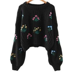 Casual Floral Embroidered Sweater