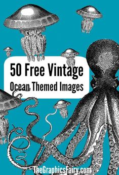50 Free Ocean Themed Graphics. Great for making your own Printables, DIY Projects or Crafts!
