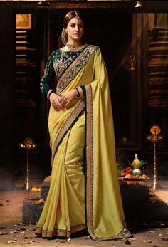 3d1d5fd86d271d Yellow Silk Party Wear Stylish Saree