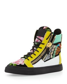 Men\'s Floral Jeweled Zip High-Top Sneaker  by Giuseppe Zanotti at Neiman Marcus.