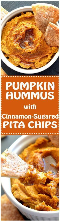 Pumpkin Hummus with Cinnamon Sugared Pita Chips