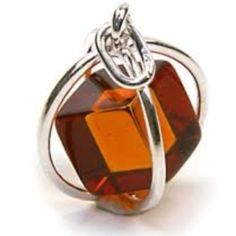 Honey Amber Cube Millennium Collection Sterling Silver Spherical Pendant Snake Chain