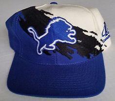 9b195040d24 Detroit Lions Vintage Snapback Logo Athletic Splash Hat NFL Pro Line Cap  Rare Nfl Pro