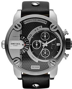 DIESEL® 'Little Daddy' Chronograph Leather Strap Watch, 51mm