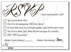 RSVP card with hilarious options or add your own funny reasons ...