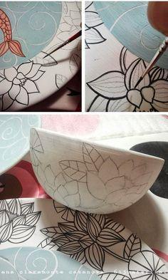 Тренируй линейное письмо кистью Tenía muchas ganas de enseñaros este conjunto de cerámica que terminé el pasado verano.que ya estamos en otoño. Ceramic Decor, Ceramic Clay, Ceramic Painting, Porcelain Ceramics, Ceramic Bowls, Porcelain Tiles, Pottery Bowls, Ceramic Pottery, Pottery Art