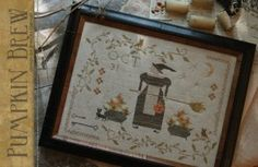 "Pre-Order! ""Pumpkin Brew"" is the title of this cross stitch pattern from With Thy Needle and Thread."