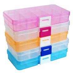 12.5x6.2x2cm DIY Organizer Box 10 Cells 5 Colors Transparent Color Splittable Plastic Storage Boxes