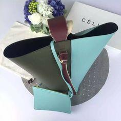 Limited Edition!2016 Celine Bags Outlet-Celine Twisted Cabas in Khaki,Sky Blue,Burgundy Shiny Smooth Calfskin