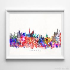London England Skyline Watercolor Wall Art Print. Prices from $9.95. Available at InkistPrints.com - #skyline#watercolor#cityscapes#bedroomdecor#homedecor#London #England