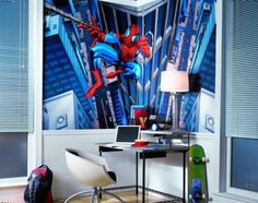 Fun study area in the room makes it less of a chore to sit and do schoolwork, the table lamp is important for doing tasks and Spiderman is just fun