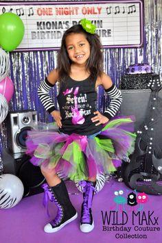 Rock Princess Birthday Racerback Tank - It's My Birthday Party Like a Rock Star - Black and Fuschia - Custom for any age on Etsy, $25.00