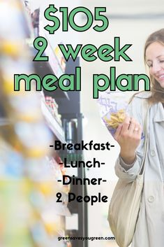 With this budget friendly 2 week meal plan I will show you everything you need to buy for 105 for 2 people for 2 weeks of breakfasts lunches and dinners Budget Weekly Meal Plan, Lunch On A Budget, One Week Meal Plan, Cooking On A Budget, Diet Meal Plans, Meals For The Week, Budget Meals For A Week, Budget Plan, Weekly Menu