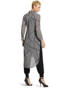 S new arrivals - clothing, jewelry & more - chico's eve Modelos Fashion, Peplum Dress, Shirt Dress, Black And White Shirt, Looks Chic, Long Tops, Women's Fashion Dresses, Plus Size Outfits, Casual Outfits