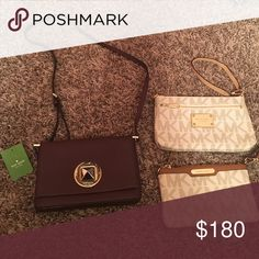Brand name purse bundle! Brand new Kate spade purse and 2 Michael Kors clutches only used a few times kate spade Bags Crossbody Bags