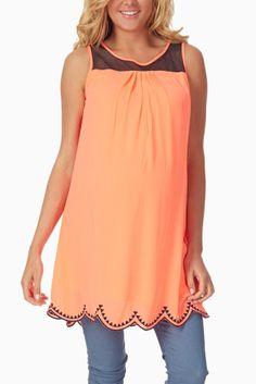 Neon coral black sheer top maternity tunic #maternity #fashion