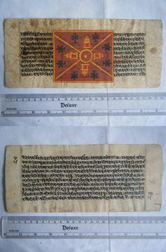 Rare Original Antique Old Manuscript Jain Cosmology New Hand Painting India#640